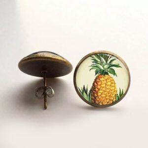 Pineapple Bronze Earring 14 mm